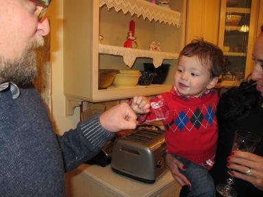 "My nephew giving The Boy ""knucks"" :)"
