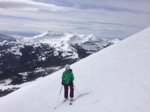 Skiing off the tram at Big Sky