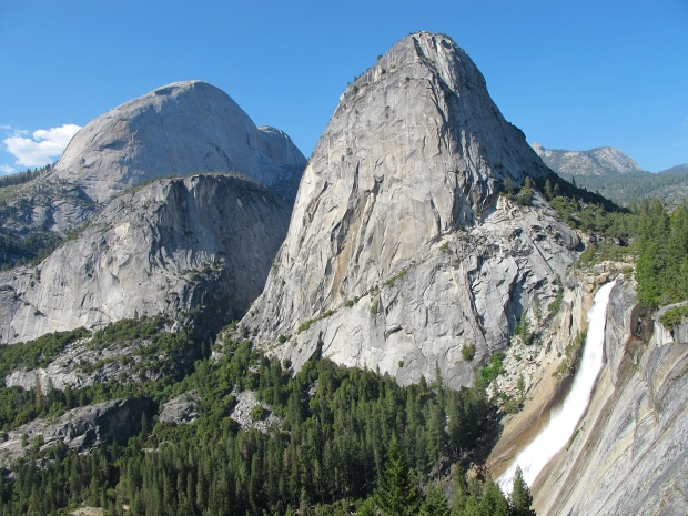 Half dome, Mt. Broderick (?) and Nevada Falls